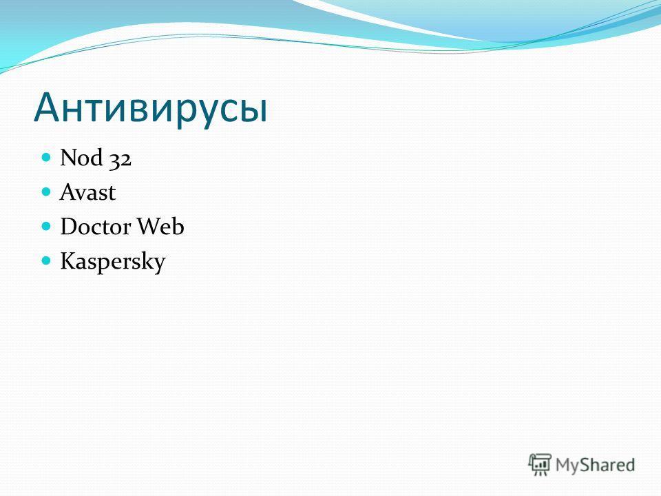 Антивирусы Программы для защиты файлов от вирусов и вредоносных программ