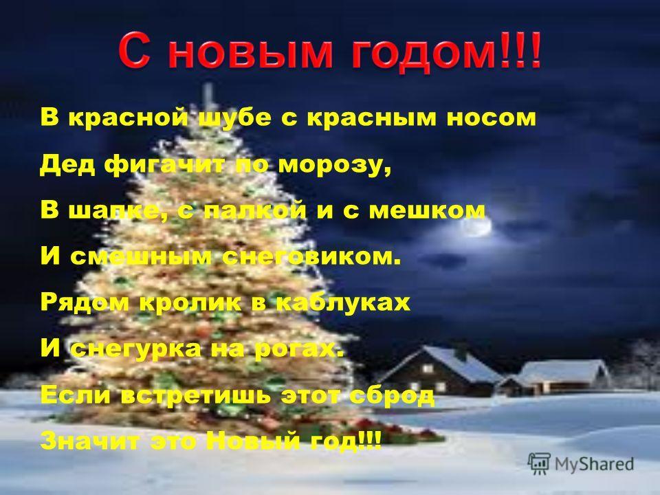 В красной шубе с красным носом Дед фигачит по морозу, В шапке, с палкой и с мешком И смешным снеговиком. Рядом кролик в каблуках И снегурка на рогах. Если встретишь этот сброд Значит это Новый год!!!