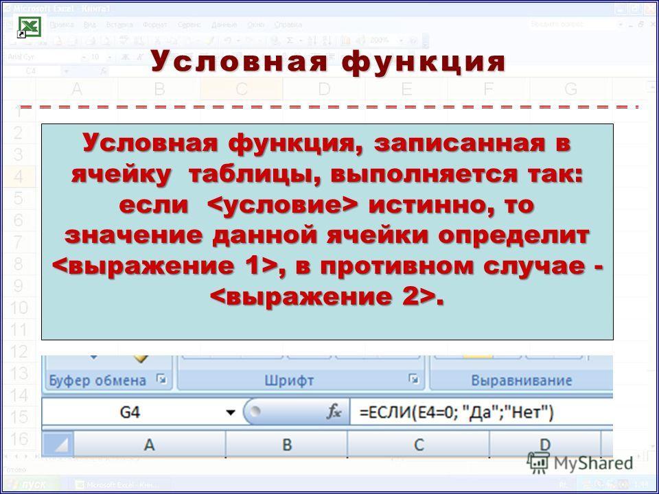 Условная функция Условная функция, записанная в ячейку таблицы, выполняется так: если истинно, то значение данной ячейки определит, в противном случае -.