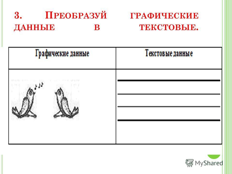 3. П РЕОБРАЗУЙ ГРАФИЧЕСКИЕ ДАННЫЕ В ТЕКСТОВЫЕ.
