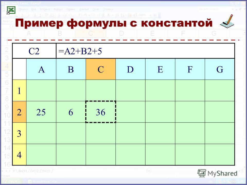 Пример формулы с константой C2=A2+B2+5 ABCDEFG 1 225636 3 4