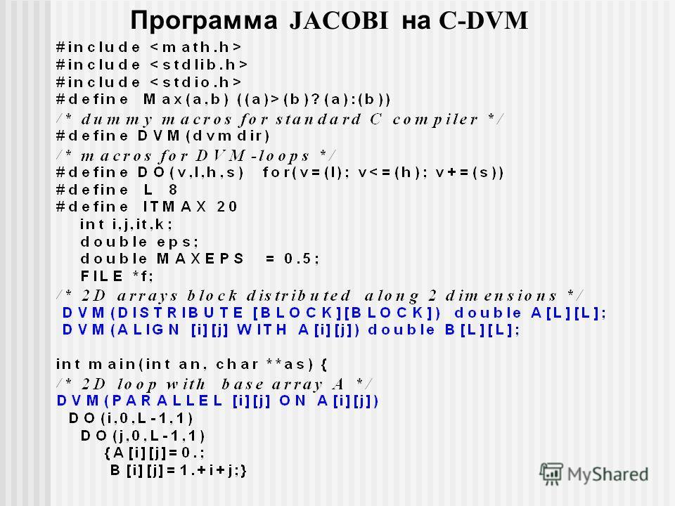 Программа JACOBI на C-DVM