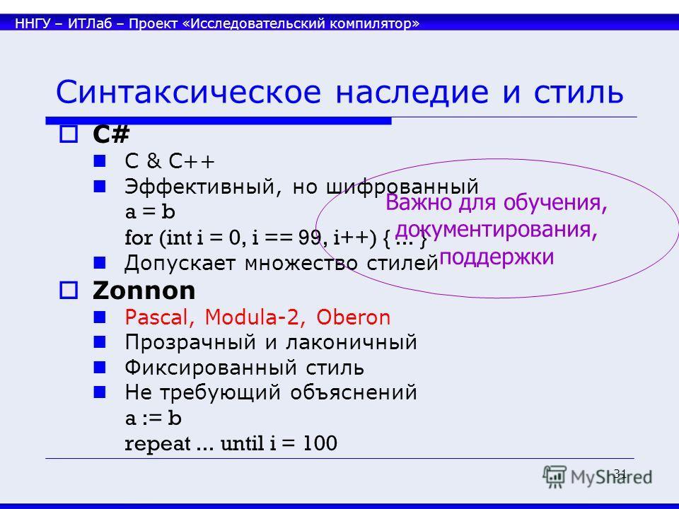 ННГУ – ИТЛаб – Проект «Исследовательский компилятор» 31 Синтаксическое наследие и стиль C# C & C++ Эффективный, но шифрованный a = b for (int i = 0, i == 99, i++) {... } Допускает множество стилей Zonnon Pascal, Modula-2, Oberon Прозрачный и лаконичн