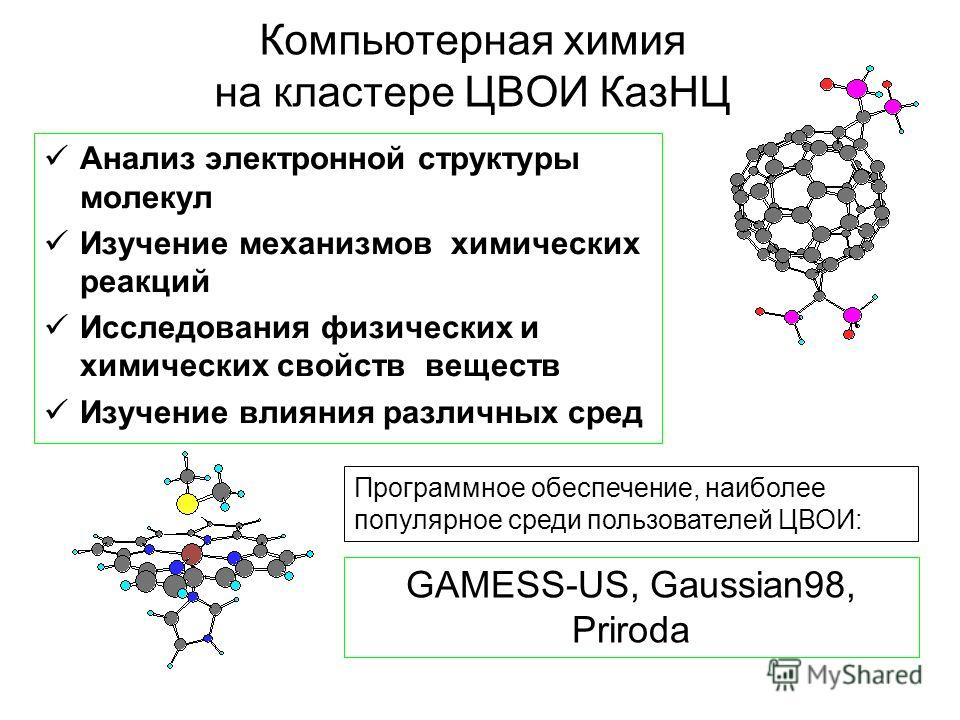 Компьютерная химия на кластере ЦВОИ КазНЦ Анализ электронной структуры молекул Изучение механизмов химических реакций Исследования физических и химических свойств веществ Изучение влияния различных сред Программное обеспечение, наиболее популярное ср