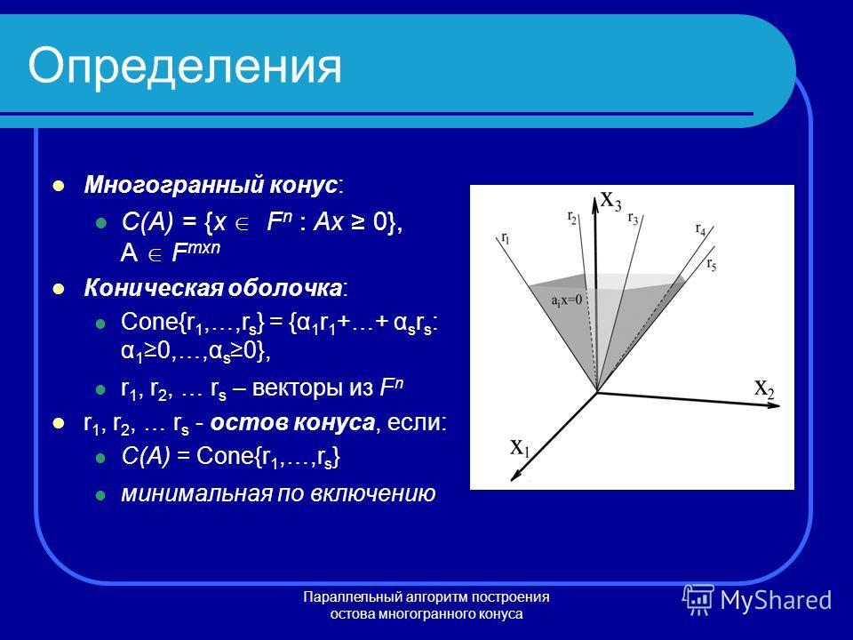 Параллельный алгоритм построения остова многогранного конуса Определения Многогранный конус: C(A) = {x F n : Ax 0}, A F mxn Коническая оболочка: Cone{r 1,…,r s } = {α 1 r 1 +…+ α s r s : α 1 0,…,α s 0}, r 1, r 2, … r s – векторы из F n r 1, r 2, … r
