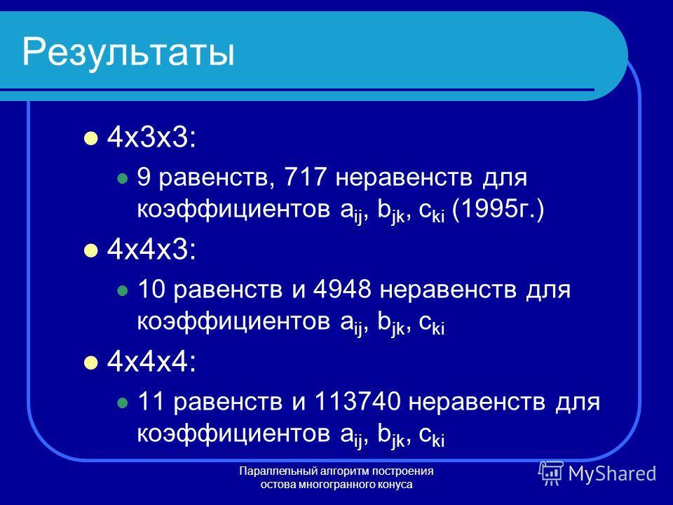 Параллельный алгоритм построения остова многогранного конуса Результаты 4x3x3: 9 равенств, 717 неравенств для коэффициентов a ij, b jk, c ki (1995г.) 4x4x3: 10 равенств и 4948 неравенств для коэффициентов a ij, b jk, c ki 4x4x4: 11 равенств и 113740