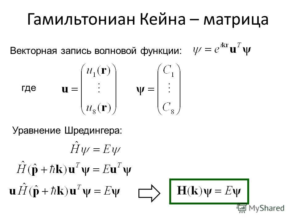 Гамильтониан Кейна – матрица Уравнение Шредингера: Векторная запись волновой функции: где