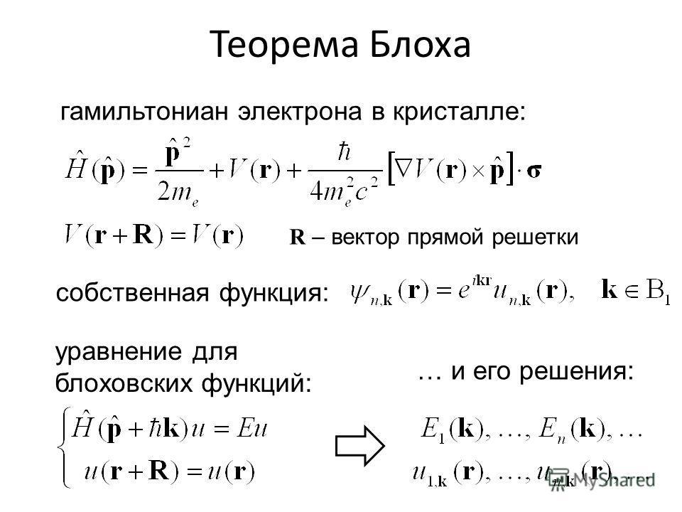 гамильтониан электрона в кристалле: собственная функция: уравнение для блоховских функций: … и его решения: Теорема Блоха R – вектор прямой решетки