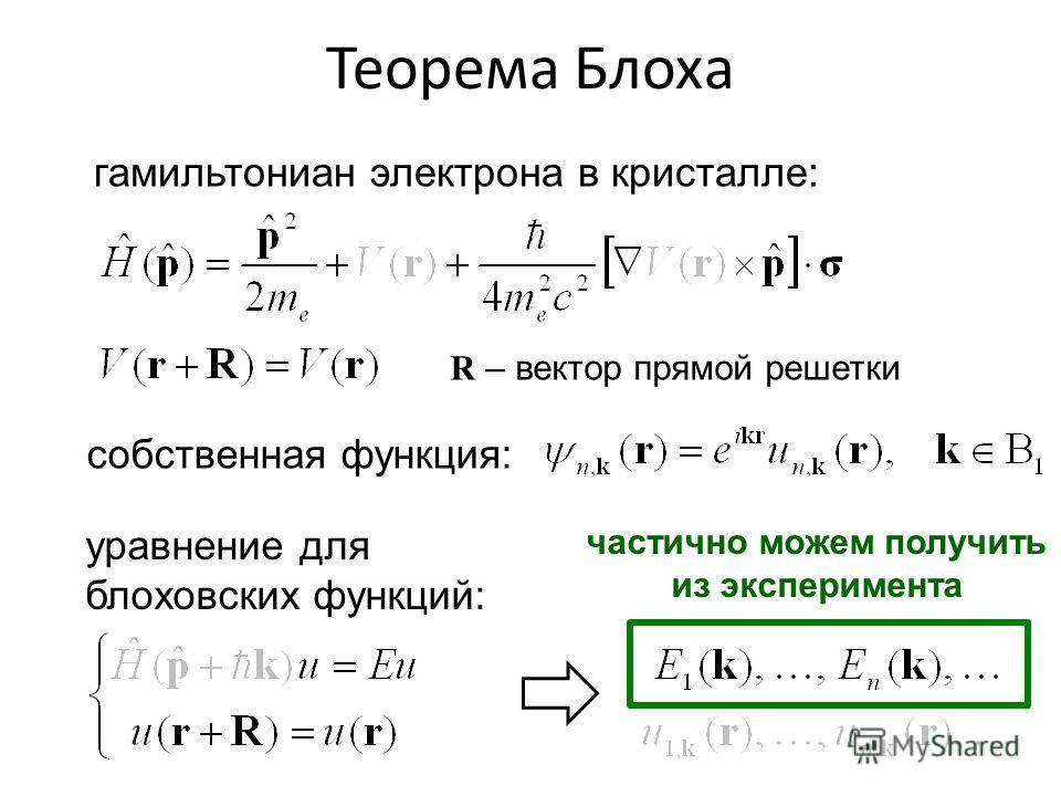 Теорема Блоха гамильтониан электрона в кристалле: собственная функция: уравнение для блоховских функций: … и его решения: R – вектор прямой решетки частично можем получить из эксперимента