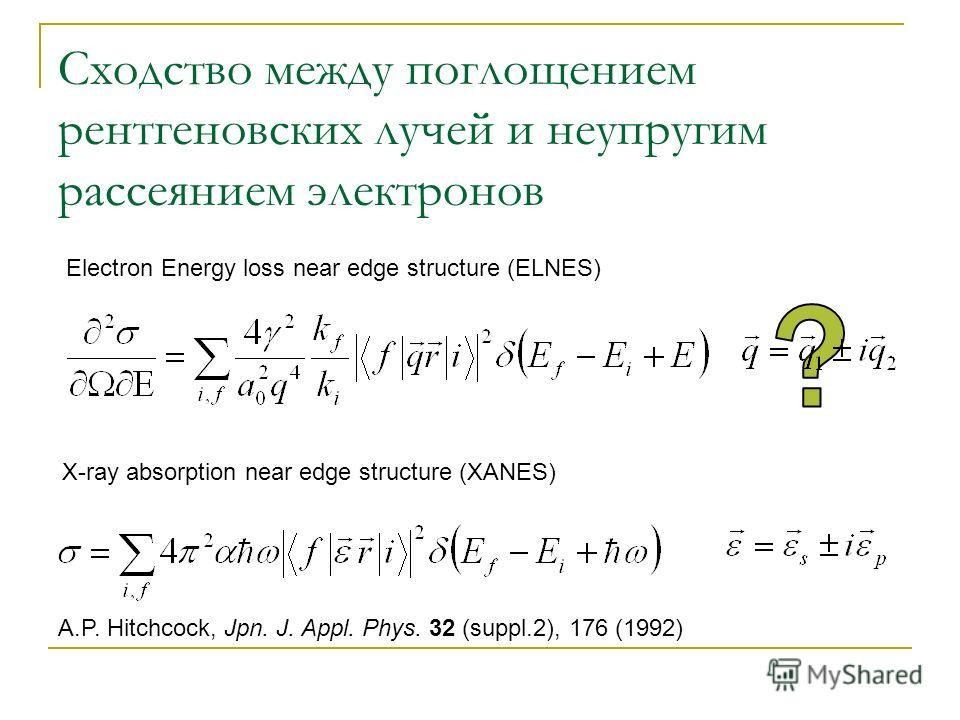 Сходство между поглощением рентгеновских лучей и неупругим рассеянием электронов A.P. Hitchcock, Jpn. J. Appl. Phys. 32 (suppl.2), 176 (1992) X-ray absorption near edge structure (XANES) Electron Energy loss near edge structure (ELNES)