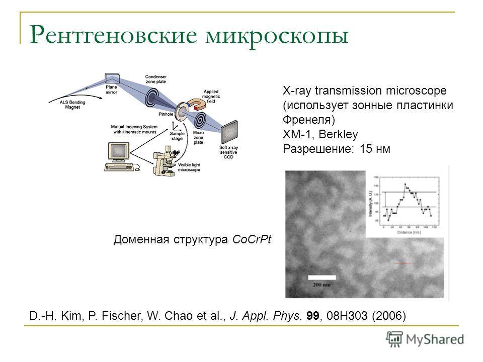 Рентгеновские микроскопы X-ray transmission microscope (использует зонные пластинки Френеля) XM-1, Berkley Разрешение: 15 нм D.-H. Kim, P. Fischer, W. Chao et al., J. Appl. Phys. 99, 08H303 (2006) Доменная структура CoCrPt