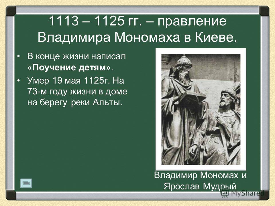 1113 – 1125 гг. – правление Владимира Мономаха в Киеве. В конце жизни написал «Поучение детям». Умер 19 мая 1125г. На 73-м году жизни в доме на берегу реки Альты. Владимир Мономах и Ярослав Мудрый