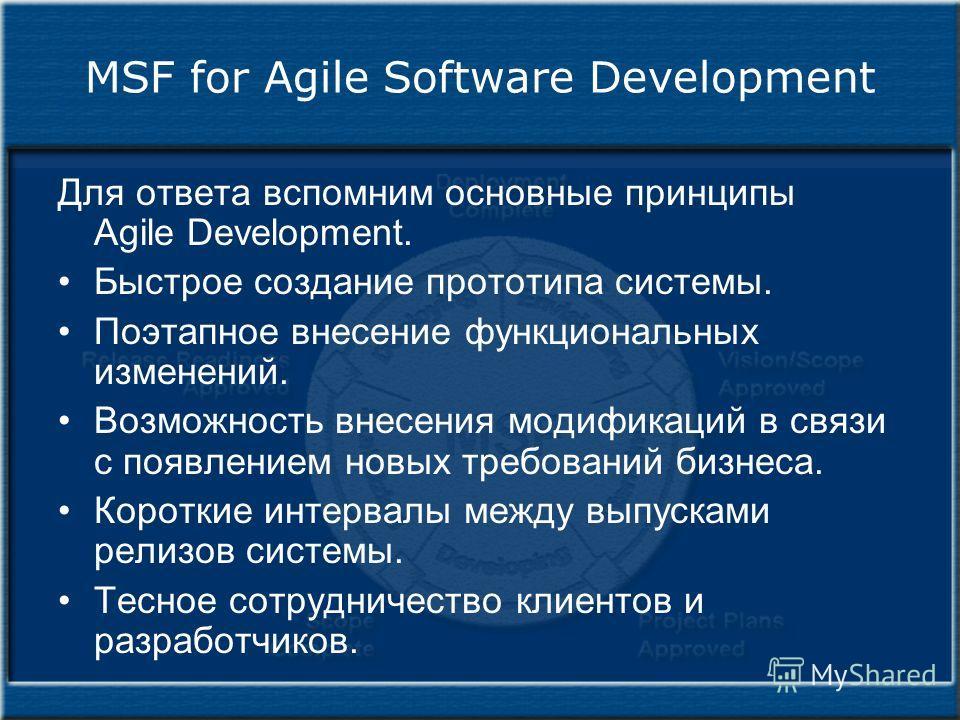 MSF for Agile Software Development Для ответа вспомним основные принципы Agile Development. Быстрое создание прототипа системы. Поэтапное внесение функциональных изменений. Возможность внесения модификаций в связи с появлением новых требований бизнес