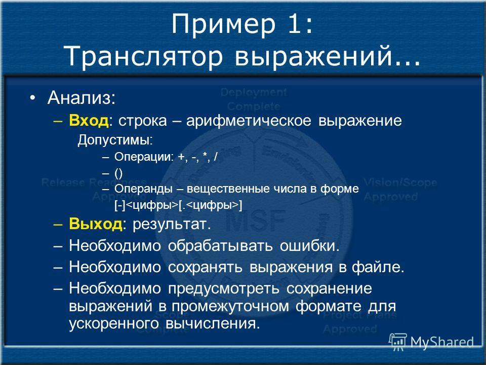 Пример 1: Транслятор выражений... Анализ: –Вход: строка – арифметическое выражение Допустимы: –Операции: +, -, *, / –() –Операнды – вещественные числа в форме [-] [. ] –Выход: результат. –Необходимо обрабатывать ошибки. –Необходимо сохранять выражени