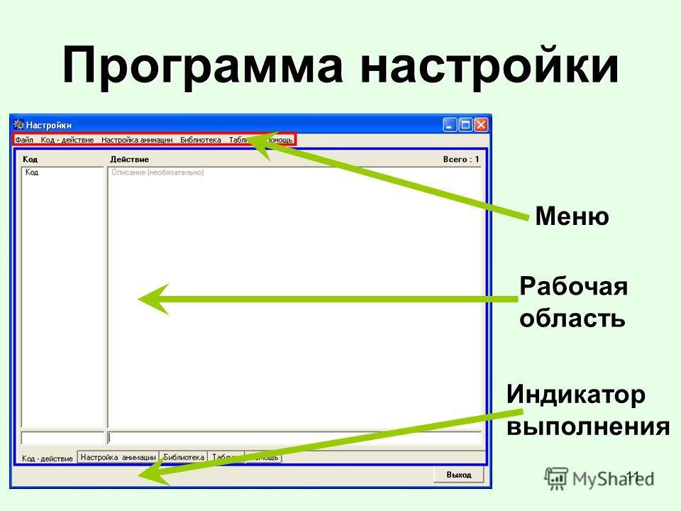 11 Программа настройки Меню Рабочая область Индикаторвыполнения