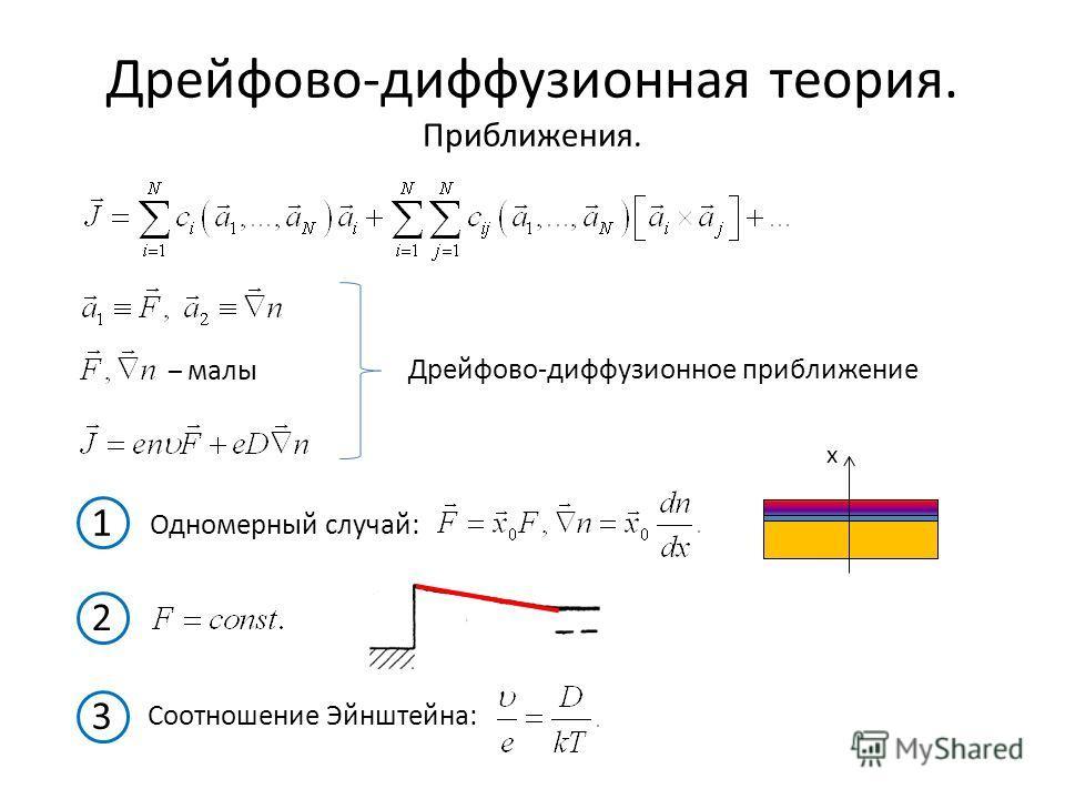 Дрейфово-диффузионная теория. Приближения. – малы Дрейфово-диффузионное приближение 1 Одномерный случай: x 2 3 Соотношение Эйнштейна: