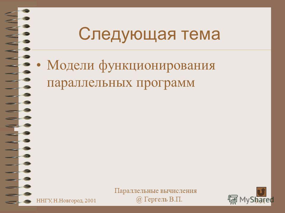 Параллельные вычисления @ Гергель В.П. ННГУ, Н.Новгород, 2001 9.31 Следующая тема Модели функционирования параллельных программ