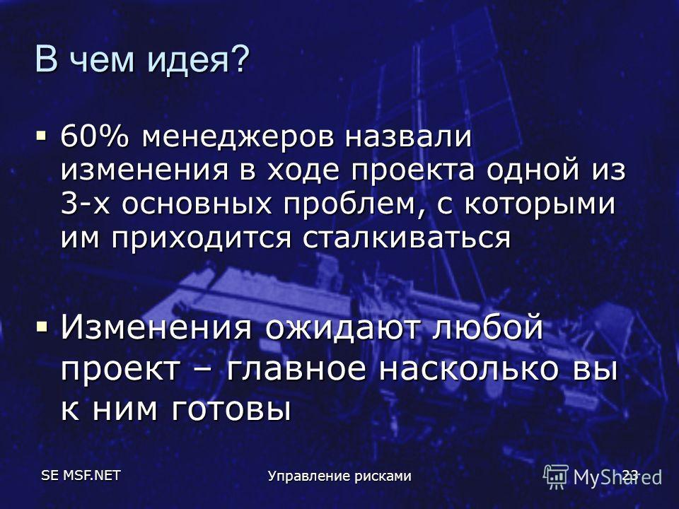 SE MSF.NET Управление рисками 23 В чем идея? 60% менеджеров назвали изменения в ходе проекта одной из 3-х основных проблем, с которыми им приходится сталкиваться 60% менеджеров назвали изменения в ходе проекта одной из 3-х основных проблем, с которым