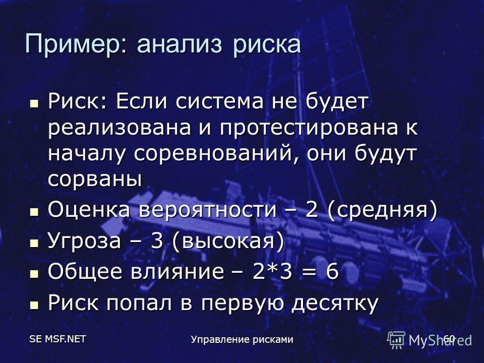 SE MSF.NET Управление рисками 60 Пример: анализ риска Риск: Если система не будет реализована и протестирована к началу соревнований, они будут сорваны Риск: Если система не будет реализована и протестирована к началу соревнований, они будут сорваны