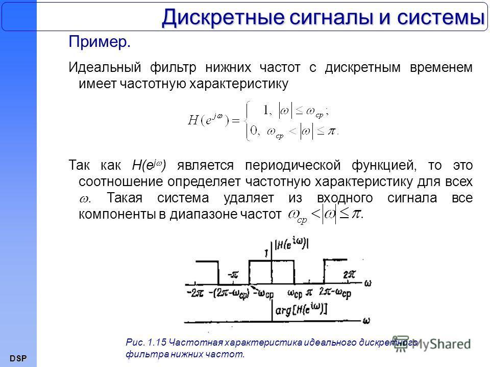DSP Дискретные сигналы и системы Пример. Идеальный фильтр нижних частот с дискретным временем имеет частотную характеристику Так как H(e j ) является периодической функцией, то это соотношение определяет частотную характеристику для всех. Такая систе