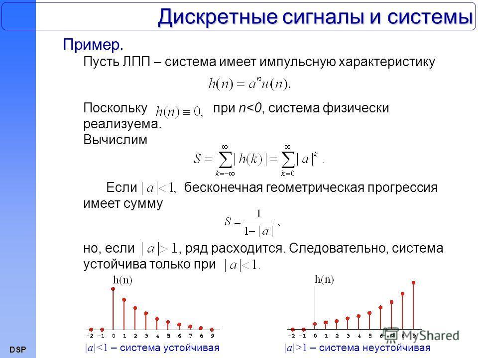 DSP Дискретные сигналы и системы Пример. Пусть ЛПП – система имеет импульсную характеристику Поскольку при n