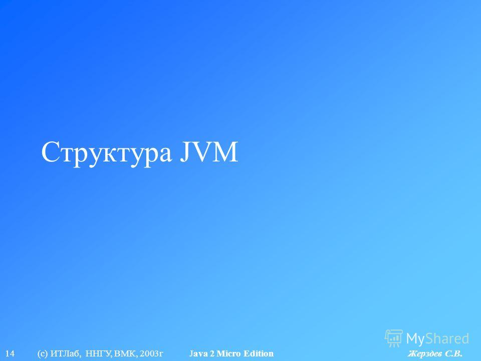 14 (с) ИТЛаб, ННГУ, ВМК, 2003г Java 2 Micro Edition Жерздев С.В. Структура JVM