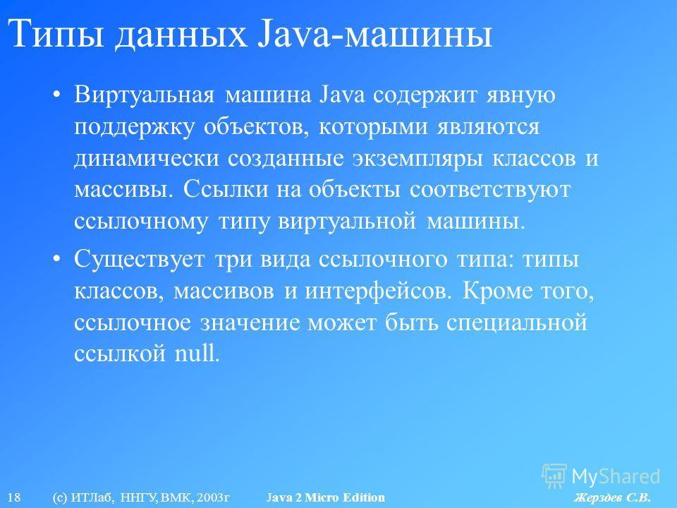 18 (с) ИТЛаб, ННГУ, ВМК, 2003г Java 2 Micro Edition Жерздев С.В. Типы данных Java-машины Виртуальная машина Java содержит явную поддержку объектов, которыми являются динамически созданные экземпляры классов и массивы. Ссылки на объекты соответствуют