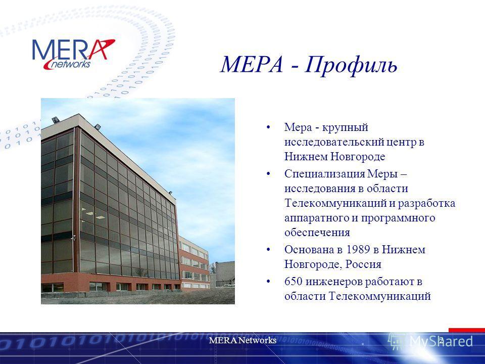 MERA Networks2 МЕРА - Профиль Мера - крупный исследовательский центр в Нижнем Новгороде Специализация Меры – исследования в области Телекоммуникаций и разработка аппаратного и программного обеспечения Основана в 1989 в Нижнем Новгороде, Россия 650 ин