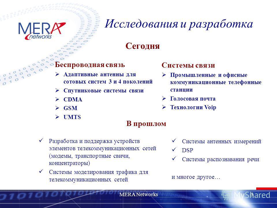 MERA Networks3 Исследования и разработка Сегодня Беспроводная связь Адаптивные антенны для сотовых систем 3 и 4 поколений Спутниковые системы связи CDMA GSM UMTS В прошлом Разработка и поддержка устройств элементов телекоммуникационных сетей (модемы,