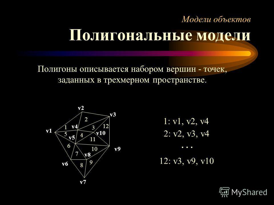 Модели объектов Полигональные модели Полигоны описывается набором вершин - точек, заданных в трехмерном пространстве. 1: v1, v2, v4 2: v2, v3, v4... v7 1 2 3 4 5 6 7 8 9 10 11 12 v1 v2 v3 v4 v5 v6 v8 v9 v10 12: v3, v9, v10