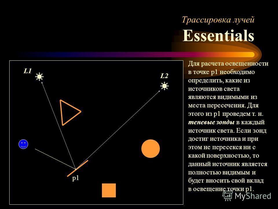 Трассировка лучей Essentials p1 Для расчета освещенности в точке p1 необходимо определить, какие из источников света являются видимыми из места пересечения. Для этого из p1 проведем т. н. теневые зонды в каждый источник света. Если зонд достиг источн