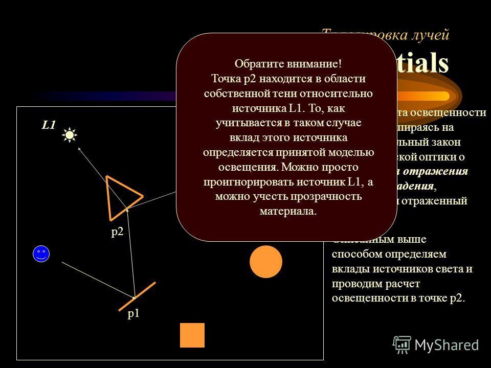Трассировка лучей Essentials p1 p2 После расчета освещенности в точке p1, опираясь на фундаментальный закон геометрической оптики о том, что угол отражения равен углу падения, сгенерируем отраженный луч. Описанным выше способом определяем вклады исто