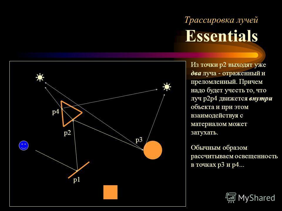 Трассировка лучей Essentials p1 p2 p3 p4 Из точки p2 выходят уже два луча - отраженный и преломленный. Причем надо будет учесть то, что луч p2p4 движется внутри объекта и при этом взаимодействуя с материалом может затухать. Обычным образом рассчитыва