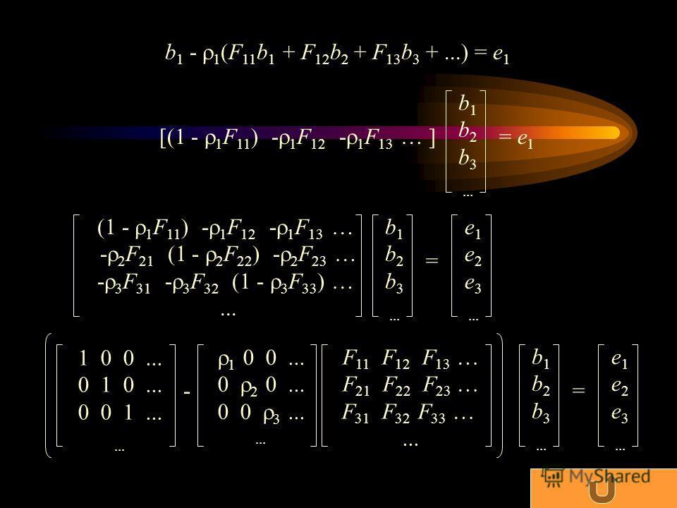 b 1 - 1 (F 11 b 1 + F 12 b 2 + F 13 b 3 +...) = e 1 [(1 - 1 F 11 ) - 1 F 12 - 1 F 13 … ] b 1 b 2 b 3... = e 1 (1 - 1 F 11 ) - 1 F 12 - 1 F 13 … - 2 F 21 (1 - 2 F 22 ) - 2 F 23 … - 3 F 31 - 3 F 32 (1 - 3 F 33 ) …... b 1 b 2 b 3... = e 1 e 2 e 3... b 1