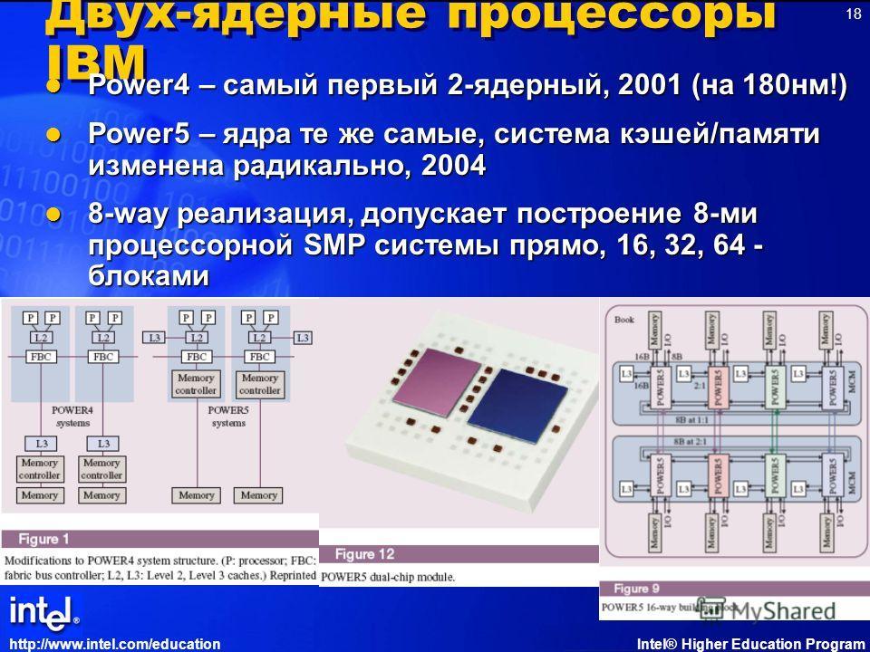 http://www.intel.com/educationIntel® Higher Education Program 18 Двух-ядерные процессоры IBM Power4 – самый первый 2-ядерный, 2001 (на 180нм!) Power4 – самый первый 2-ядерный, 2001 (на 180нм!) Power5 – ядра те же самые, система кэшей/памяти изменена