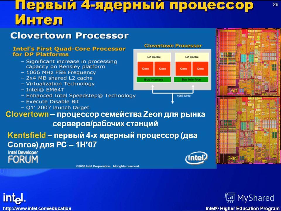http://www.intel.com/educationIntel® Higher Education Program 26 Первый 4-ядерный процессор Интел Clovertown – процессор семейства Zeon для рынка серверов/рабочих станций Kentsfield – первый 4-х ядерный процессор (два Conroe) для РС – 1H07