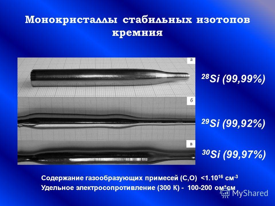 Монокристаллы стабильных изотопов кремния 28 Si (99,99%) 29 Si (99,92%) 30 Si (99,97%) Содержание газообразующих примесей (C,О)