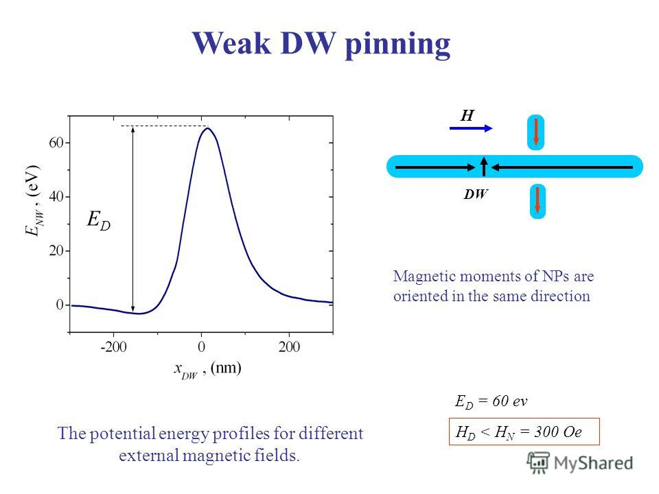 Weak DW pinning DW Н EDED The potential energy profiles for different external magnetic fields. E D = 60 ev H D < H N = 300 Oe Magnetic moments of NPs are oriented in the same direction