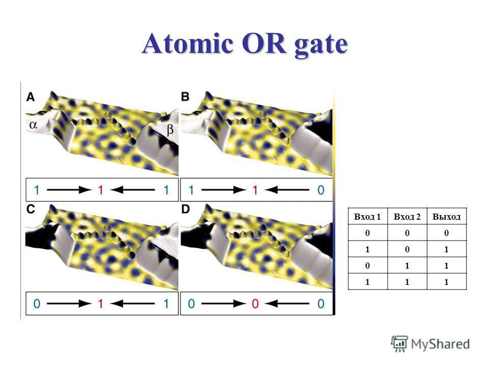 Atomic OR gate Вход 1Вход 2Выход 000 101 011 111