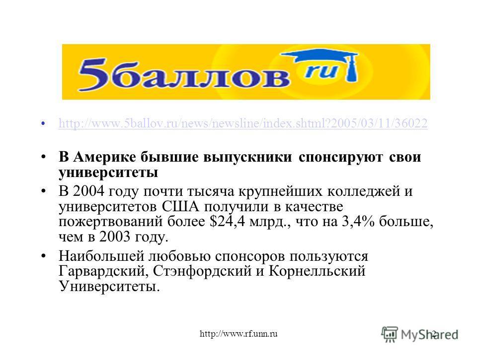 http://www.rf.unn.ru2 http://www.5ballov.ru/news/newsline/index.shtml?2005/03/11/36022 В Америке бывшие выпускники спонсируют свои университеты В 2004 году почти тысяча крупнейших колледжей и университетов США получили в качестве пожертвований более