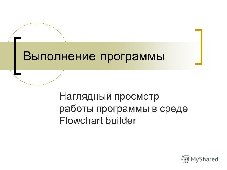 Выполнение программы Наглядный просмотр работы программы в среде Flowchart builder