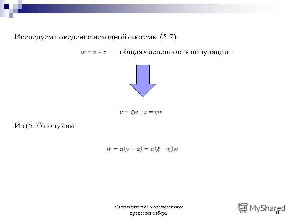 Исследуем поведение исходной системы (5.7). – общая численность популяции., Из (5.7) получим: Математическое моделирование процессов отбора 6