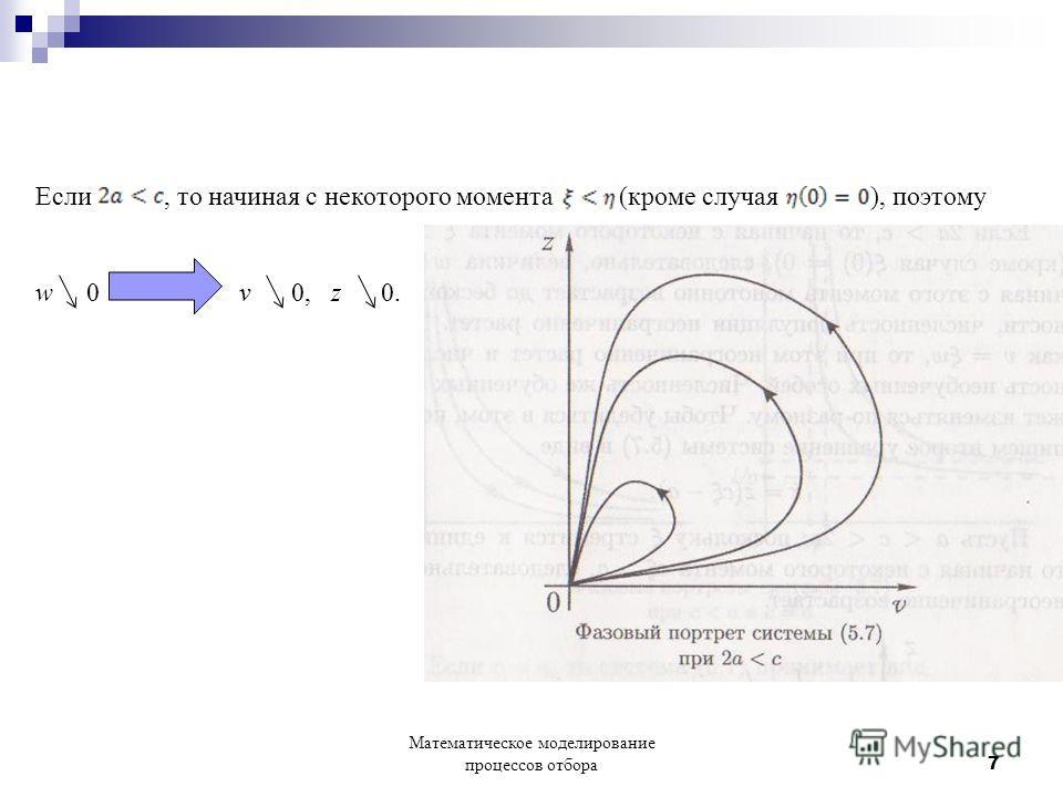 Если, то начиная с некоторого момента (кроме случая ), поэтому w 0 v 0, z 0. Математическое моделирование процессов отбора 7