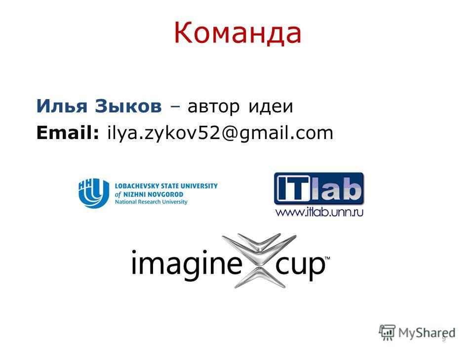 Команда Илья Зыков – автор идеи Email: ilya.zykov52@gmail.com 9