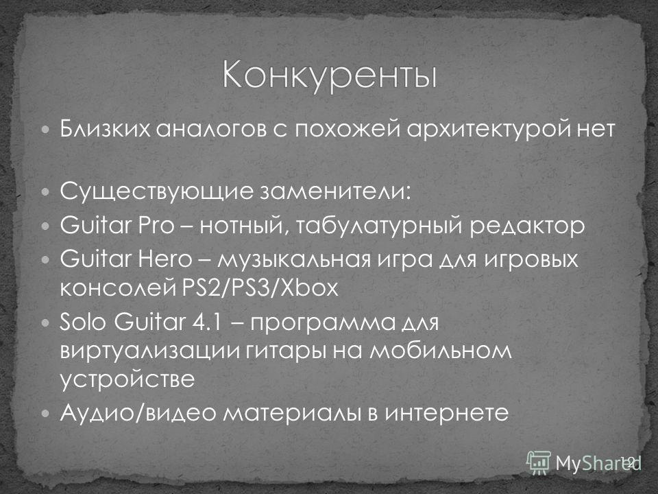 Близких аналогов с похожей архитектурой нет Существующие заменители: Guitar Pro – нотный, табулатурный редактор Guitar Hero – музыкальная игра для игровых консолей PS2/PS3/Xbox Solo Guitar 4.1 – программа для виртуализации гитары на мобильном устройс