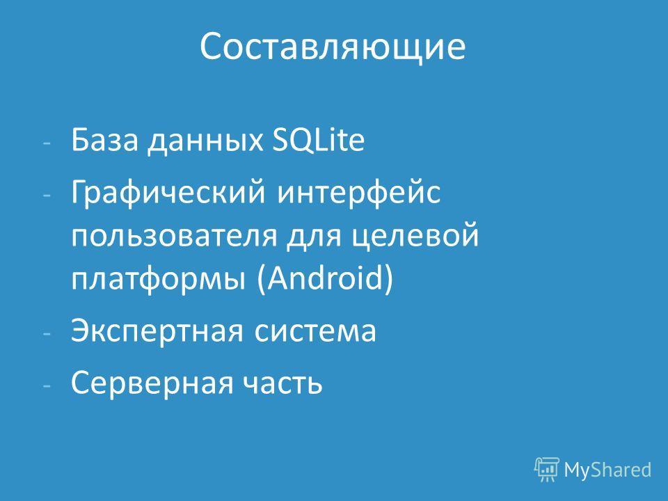 - База данных SQLite - Графический интерфейс пользователя для целевой платформы (Android) - Экспертная система - Серверная часть Составляющие