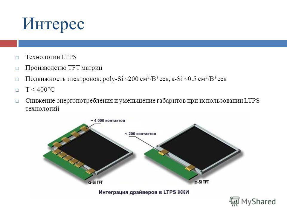 Интерес Технологии LTPS Производство TFT матриц Подвижность электронов: poly-Si ~200 см 2 /В*сек, a-Si ~0.5 см 2 /В*сек T < 400°C Снижение энергопотребления и уменьшение габаритов при использовании LTPS технологий