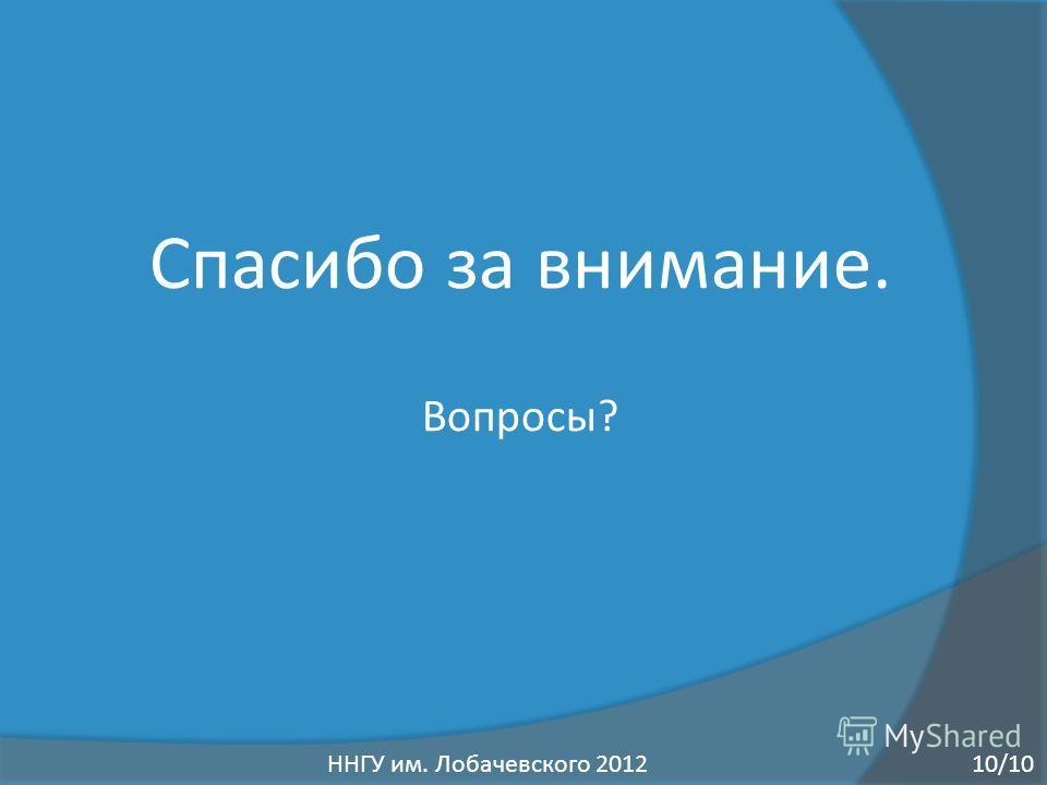 Спасибо за внимание. Вопросы? ННГУ им. Лобачевского 201210/10