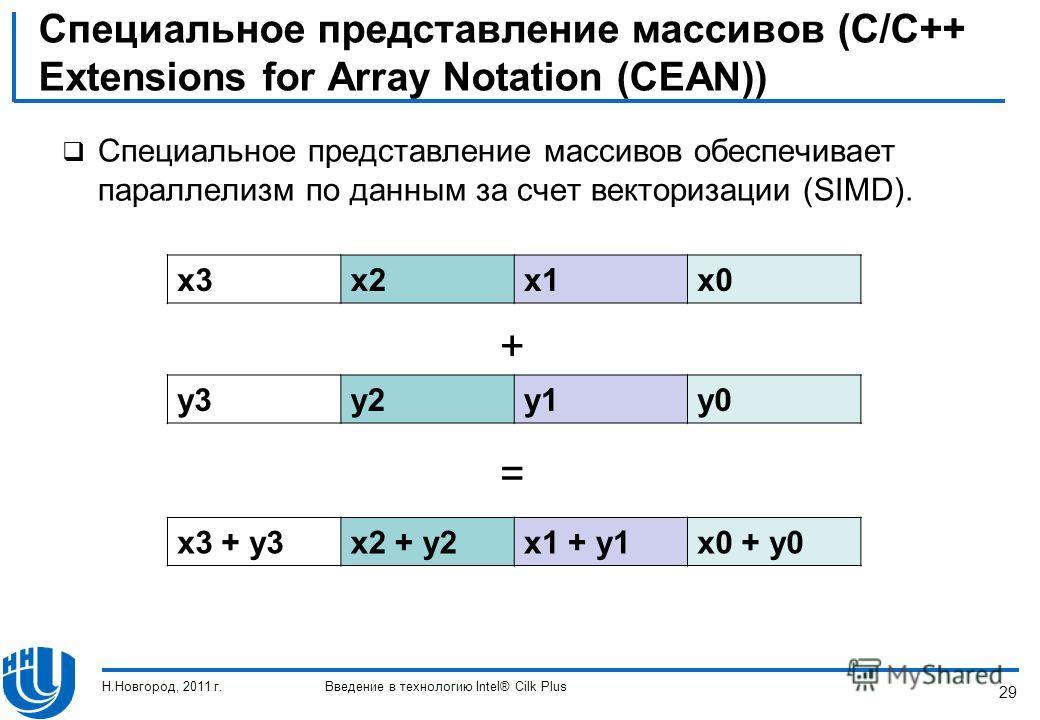 29 Специальное представление массивов (C/C++ Extensions for Array Notation (CEAN)) Специальное представление массивов обеспечивает параллелизм по данным за счет векторизации (SIMD). x3x2x1x0 y3y2y1y0 x3 + y3x2 + y2x1 + y1x0 + y0 + = Н.Новгород, 2011