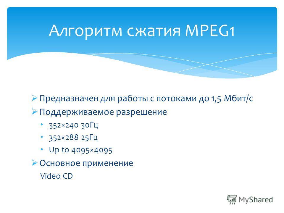 Предназначен для работы с потоками до 1,5 Мбит/с Поддерживаемое разрешение 352×240 30Гц 352×288 25Гц Up to 4095×4095 Основное применение Video CD Алгоритм сжатия MPEG1